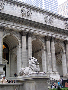 NYC public library, where they fight their first ghost...